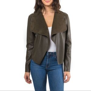 NWT Bagatelle Faux Leather Drape Front Jacket